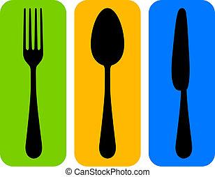 矢量, 刀叉餐具, 鮮艷, 圖象