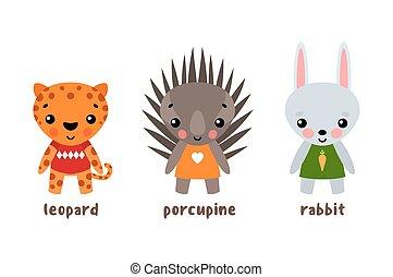 矢量, 動物, 卡通, 動物園