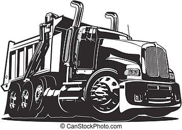 矢量, 卡通漫画, 堆存处卡车