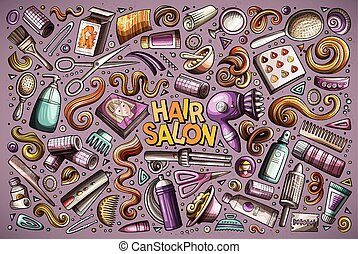 矢量, 卡通, 集合, ......的, 頭發美容院, 主題, 對象