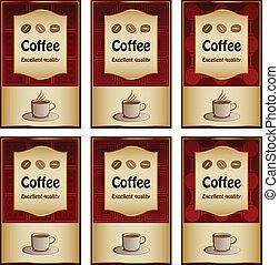 矢量, 咖啡, 標籤