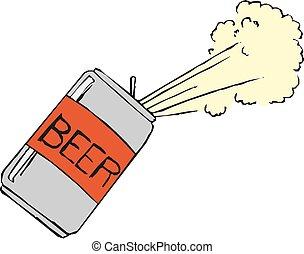 矢量, 啤酒, 泡沫, 罐頭, 插圖