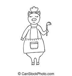 矢量, 單色, hand-drawn, 有趣, 豬, 廚師, 穿, an, 圍裙, 以及, a, ladle.