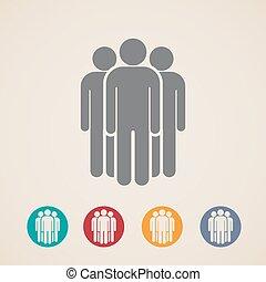 矢量, 图标, 在中, 人们, 团体