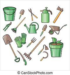 矢量, 園藝, 集合, 工具, 插圖