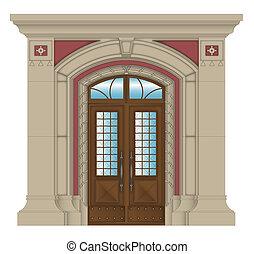 矢量, 圖像, 石頭, 入口, ......的, 房子