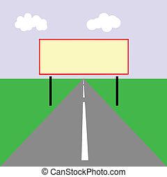 矢量, 圖畫, ......的, the, 廣告欄, 上, 路