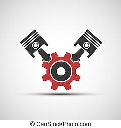 矢量, 圖象, ......的, 汽車, 引擎