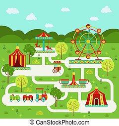 矢量, 地图, 在中, 游乐园, 带, attractions., 家庭, 在假期