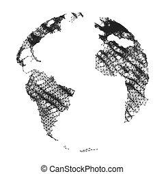 矢量, 地圖, ......的, the, world., 全球的网絡, mesh., 事務, illustration.