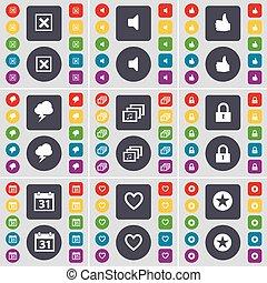 矢量, 大, 集合, 星, 聲音, 心, 畫廊, 上色, 套間, 符號。, 鎖, 按鈕, 停止, 日曆, 閃電, 圖象, 相象, 你, design.