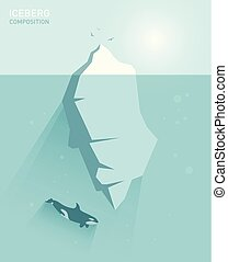 矢量, 套間, 概念, 冰山, illustration.