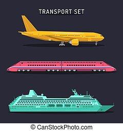 矢量, 套間, 集合, 運輸, 圖象, 飛機, set., 旅行, 理念, 訓練, infographics, 船, style., illustrations.