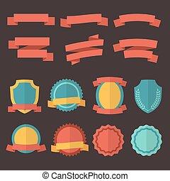 矢量, 套間, 風格, 徽章, 標籤, 集合, retro, ribbons.