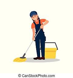 矢量, 套间, 妇女, 总的来说, 公司, 帽子, 年轻, floor., 元素, t-shirt., 做广告, 扫荡, 女孩微笑, 打扫