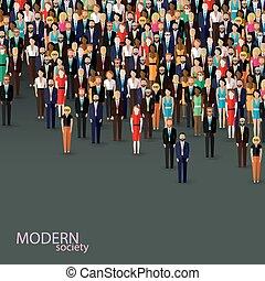 矢量, 套间, 描述, 在中, 商业, 或者, 政治, community., 乌鸦