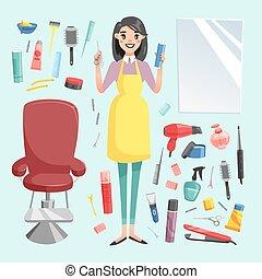 矢量, 女孩, 美容師, 由于, 頭髮, 飛剪機, 以及, 發刷, 肖像, 在, 充分, 成長, 被隔离, 上, 背景。, 專業人員, 時髦, 理髮師, 女孩, 頭髮麤毛交織物切割, tools., 客戶, 鏡子, 魔力, 理髮師, 女孩