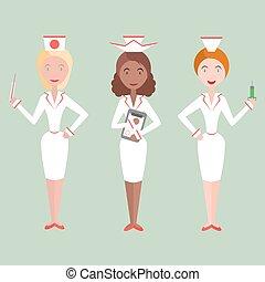 矢量, 女性, 護士
