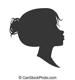 矢量, 女性, 黑色半面畫像, 被隔离, 在懷特上, 背景。