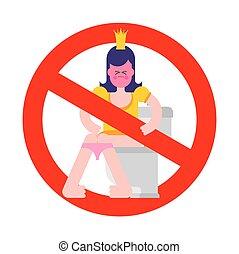 矢量, 妇女, 不, 甜, danger., 停止, 符号。, 禁止, 签署, crown., 描述, 禁止, 女孩, toilet., 公主, 红, wc.