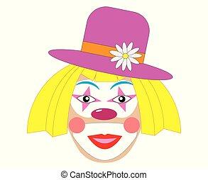 矢量, 妇女, 小丑, 描述, hat.