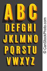 矢量, 字体, 类型, retro