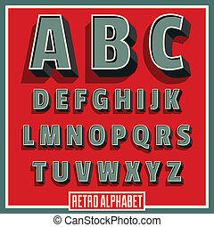 矢量, 字母表, 字体, 类型, retro