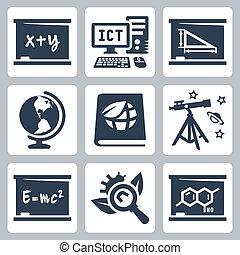 矢量, 学校主题, 图标, set:, 代数, ict, 几何学, 地理, 生态, 天文学, 物理学, 生物学, 化学