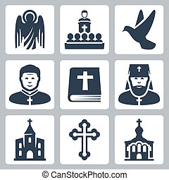 矢量, 宗教, 集合, 基督教徒, 圖象