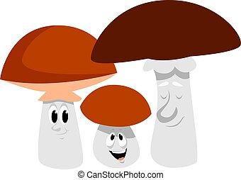 矢量, 家庭, 背景。, 插圖, 蘑菇, 白色