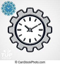 矢量, 專案, 組成部份, –, 嵌齒輪 輪子, 另外, 版本, included., 時間管理, 主題, 3d, 被風格化, 在中的鐘, the, 形狀, ......的, gear.