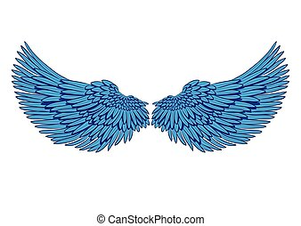 矢量, 對, ......的, 藍色, 翅膀, 被隔离, 在懷特上