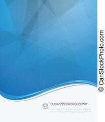矢量, 小冊子, 藍色, 事務, 波浪