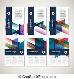 矢量, 小冊子, 飛行物, 設計, 布局, 樣板, 大小, a4, 首頁, 以及, 背, page., 使用, 為,...