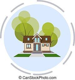 矢量, 小的房子, 舒適, 白色, 元素, 樹, 設計, 插圖, 背景。