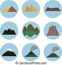 矢量, 山, 集合, 插圖, 圖象