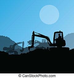 矢量, 工业, 挖掘, excavator, 机器, 工人, 站点, 描述, 拖拉机, 建设, 水力, 背景, ...