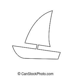 矢量, 帆船, 插圖, 圖象
