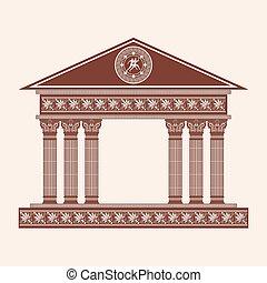 矢量, 希臘語, temple.