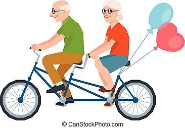 矢量, 年長者, 結婚, a, 愛夫婦, 騎馬, a, 匯接, bike.eps