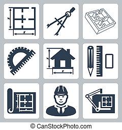 矢量, 建築物設計, 圖象, set:, 布局, 圓規, 量角器, 鉛筆, 統治者, 橡皮擦, 藍圖, 設計師, 繪圖板