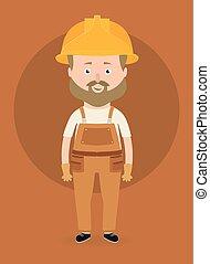 矢量, 建設工人, illustration., character.