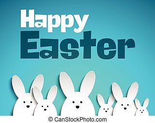 矢量, -, 復活節快樂, 兔子, bunny
