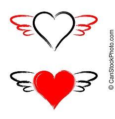 矢量, 心, 背景, 被隔离, 白色, 翅膀, 形狀