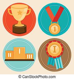 矢量, 成就, 徽章, 在, 套間, 風格
