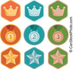 矢量, 成就, 徽章, -, 金, 銀, 青銅