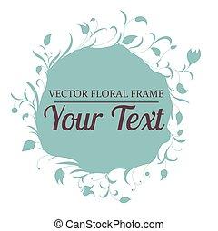 矢量, 手, 輪, 畫, frame., 花