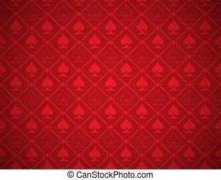 矢量, 扑克牌, 红的背景