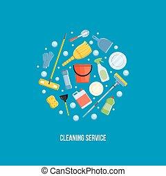 矢量, 打扫, 服务, illustration.