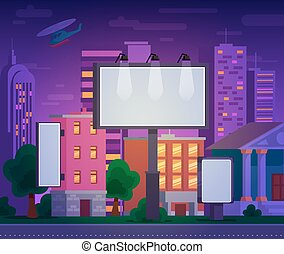 矢量, 描述, 在中, 一, 做广告, billboard